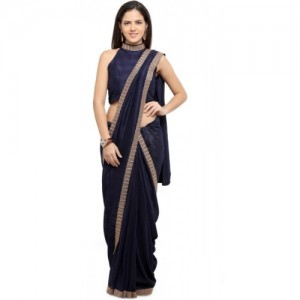 Inddus Navy Blue Art Silk Solid Banarasi Saree