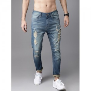 Moda Rapido Blue Tapered Fit Mid-Rise Mildly Distressed Stretchable Ankle Jeans