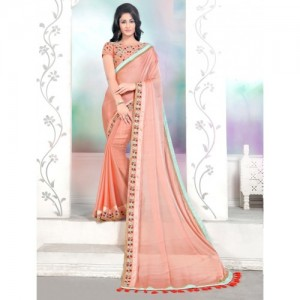 Online Fayda Peach-Coloured Solid Pure Chiffon Saree
