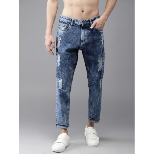 059555ec8 ... Moda Rapido Men Blue Slim Fit Mid-Rise Highly Distressed Jeans ...
