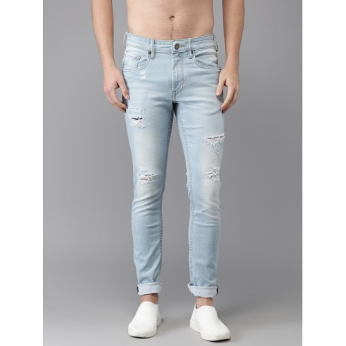 Moda Rapido Blue Skinny Fit Mid-Rise Highly Distressed Stretchable Jeans