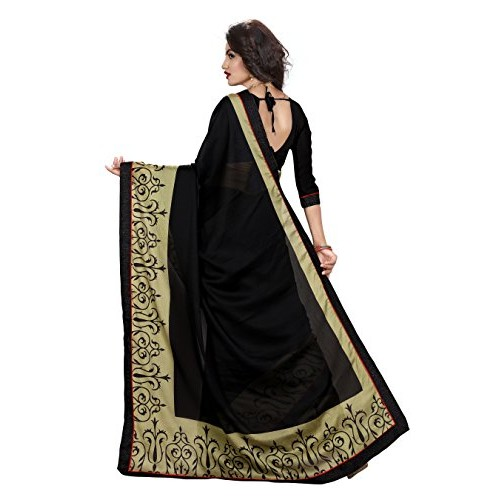 Indianbeauty Black Solid Chiffon Saree With Blouse