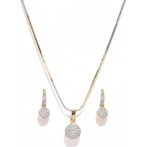YouBella Gold & Silver-Toned Stone-Studded Jewellery Set