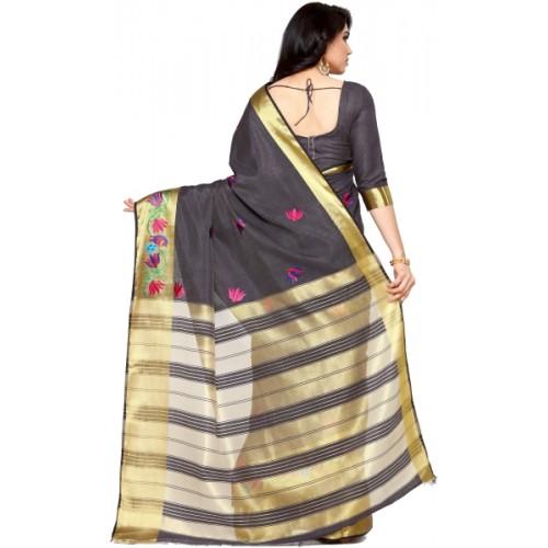 Mimosa Grey Tussar Silk Embroidered Kanjivaram Saree