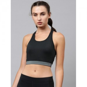 HRX by Hrithik Roshan Charcoal Grey Solid Non-Wired Lightly Padded Sports Bra