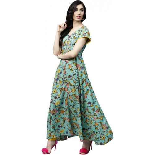 Aks Women's Self Design Flared Kurta(Green)