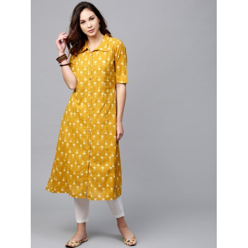 df66bd3e0 Buy Aks Mustard Yellow Printed A Line Kurta online | Looksgud.in