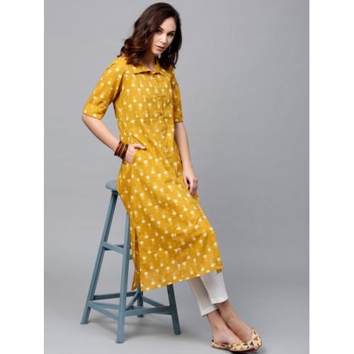 Aks Mustard Yellow Printed A Line Kurta