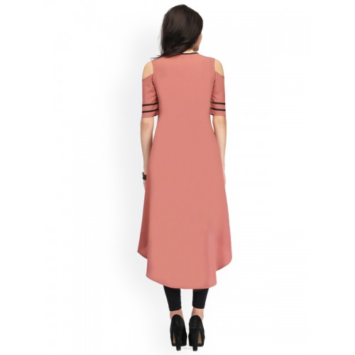 Ojjasvi Women Dusty Pink Polyester Solid A-Line Kurta