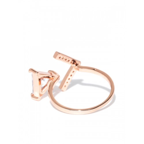 Jewels Galaxy Luxuria Copper Crystal 18K Rose Gold Plated Ring