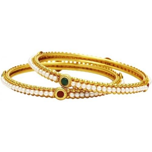 Jewels Galaxy Alloy Pearl Copper Bangle Set