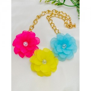 PRITA Multicoloured Gold-Plated Floral Necklace