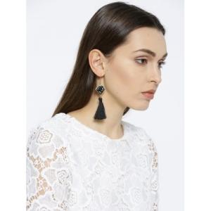 OOMPH Black & Gold-Toned Diamond Shaped Tasselled Drop Earrings