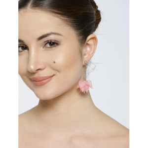 OOMPH Pink & Gold-Toned Handcrafted Floral Drop Earrings