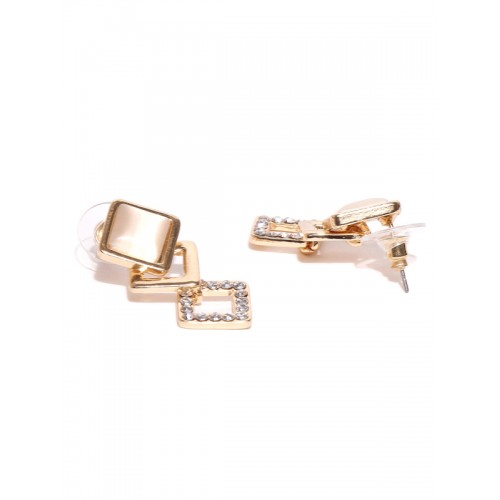 Jewels Galaxy Cream-Coloured Gold-Plated Handcrafted Stone-Studded Drop Earrings
