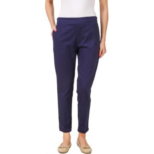 Q-Rious Regular Fit Women Dark Blue Trousers