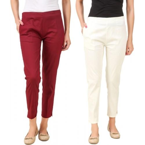 Q-Rious Regular Fit Women's Cream, Maroon Trousers