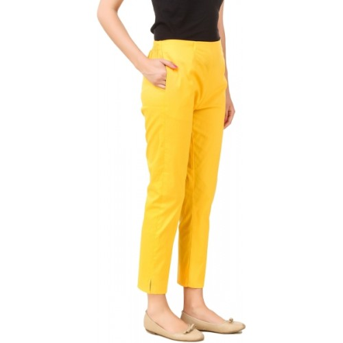 Q-Rious Regular Fit Women Yellow Trousers
