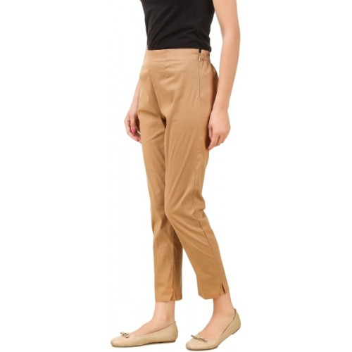 Q-Rious Regular Fit Women's Brown, White Trousers