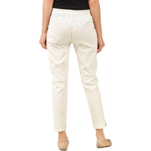 Q-Rious Regular Fit Women's Cream, Dark Blue Trousers
