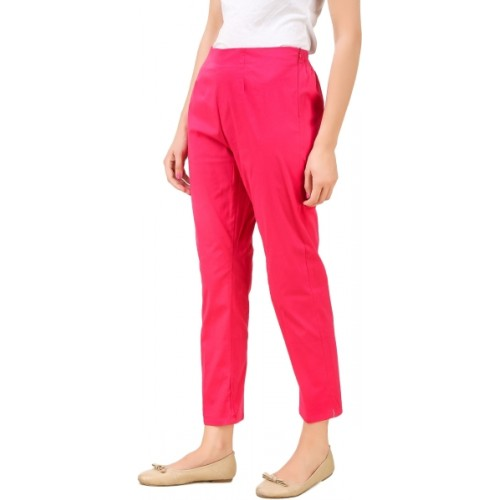 Q-Rious Regular Fit Women Pink Trousers