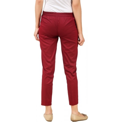 Q-Rious Regular Fit Women's White, Maroon Trousers