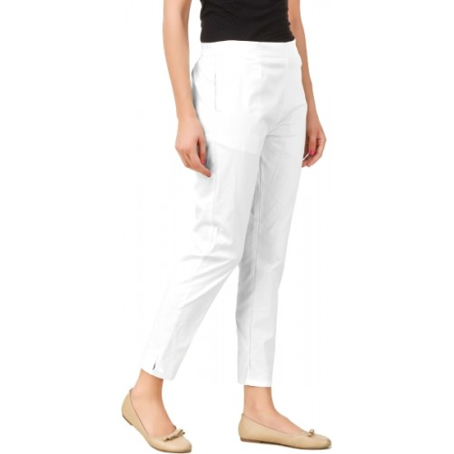 Q-Rious Regular Fit Women's Cream, White Trousers