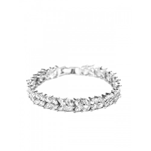 Jewels Galaxy Silver-Toned CZ Stone-Studded Platinum-Plated Handcrafted Link Bracelet