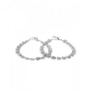 PRITA Oxidised Silver-Plated Anklets
