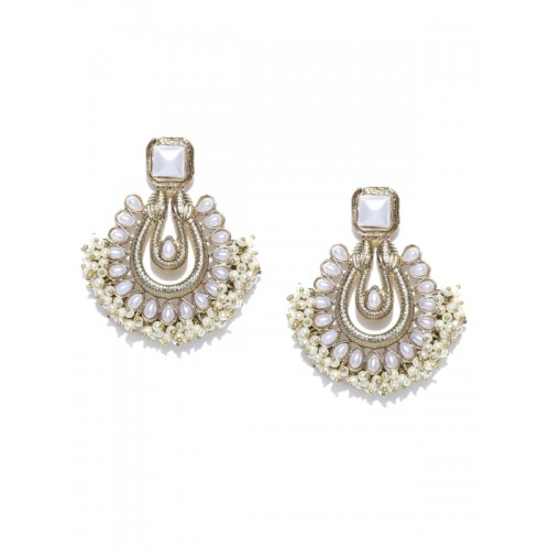 Zaveri Pearls Off-White Gold-Plated Beaded Drop Earrings