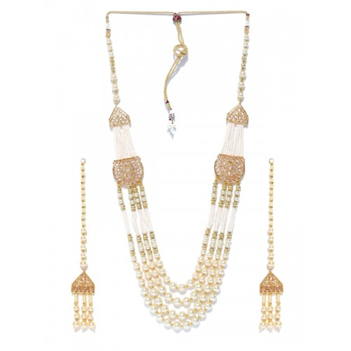 Jewels Galaxy Gold-Toned & Off-White Multistranded Beaded Jewellery Set