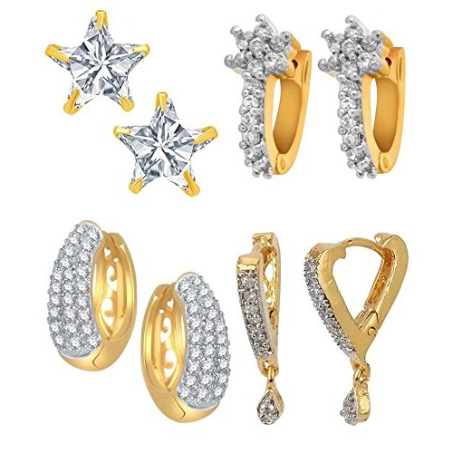 Jewels Galaxy Gold Plated Hoop Earring for Girls (White)(CB-BLL-71)