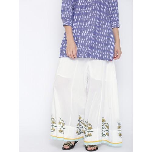 Biba Women White Printed Detail Wide Leg Palazzos