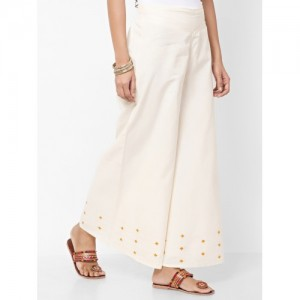 Fabindia Women Off-White Flared Embroidered Palazzos
