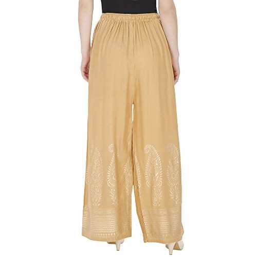 DAMEN MODE Women Rayon Printed Gold Leaf Printed Palazzo Pants