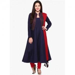Inddus Navy Blue & Red Cotton Blend Unstitched Dress Material