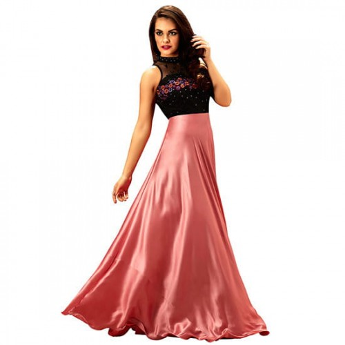 ... Khwaab Halter Neck Rose Pink Satin Stitched Embroidered Designer Partywear  Gown ... 97d4b5960