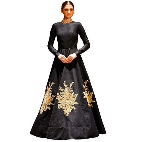 a80f04a21f ... Siddeshwary Fab Women s Multi Color Taffeta Silk Embroidered Gown for  Women ( Red Blue Black ) ...