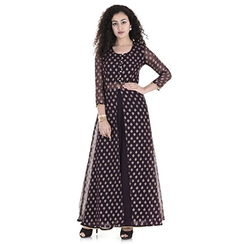 Buy Real Lady Stitched Women S Brown Gold Net Jacket Long Kurti
