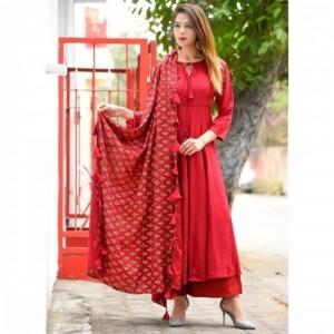 Mehar fashion Red Rayon Solid Kurti Palzzo & Dupatta Set