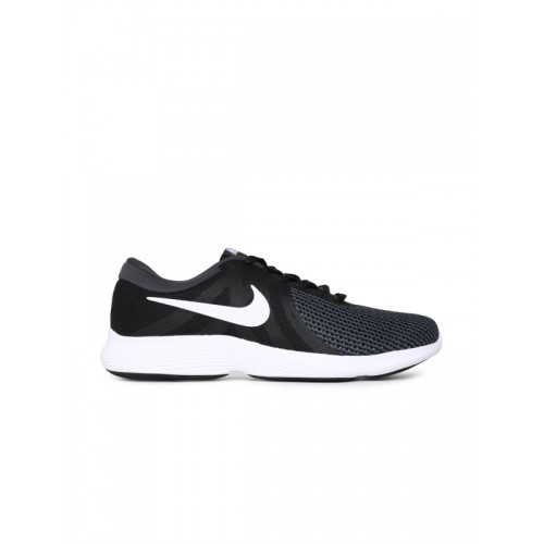 Nike Men Black & White REVOLUTION 4 Running Shoe