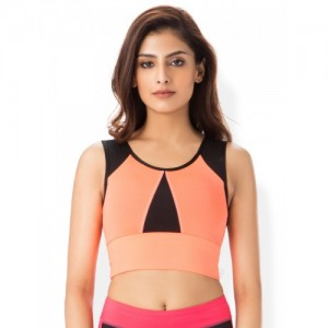 Blush by PrettySecrets Orange & Black Solid Non-Wired Lightly Padded Sports Bra
