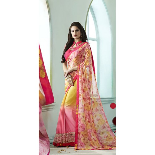 Kvsfab Pink & Yellow Georgette Printed Saree With Blouse