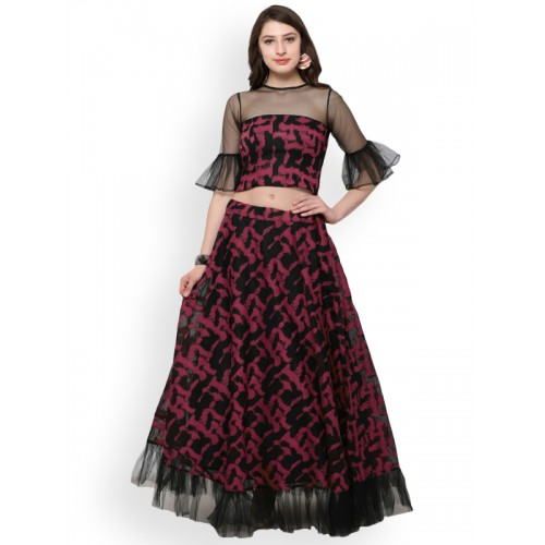 Inddus Pink Semi-Stitched Lehenga with Semi Sheer Blouse