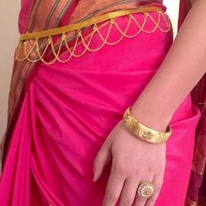 Traditional golden polished kamarpatta, kambar patta, Kamar chain, Kardhani, bellychain, waist chain, hip chain, Kamarband, golden polished ottiyanam vaddanam