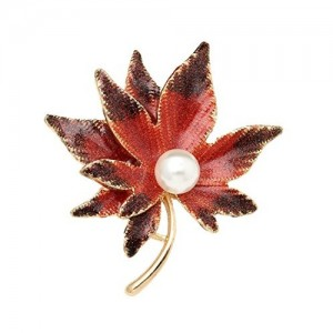 Crunchy Fashion Jewellery Maple Leaf Unisex Brooch for Men , Women and Girls
