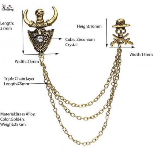 Sullery Punk Skull Brooch Chain Tassels Chain Brooch Pin Collar Suit Men And Women Horns Corsage Pin Brooch Brooch