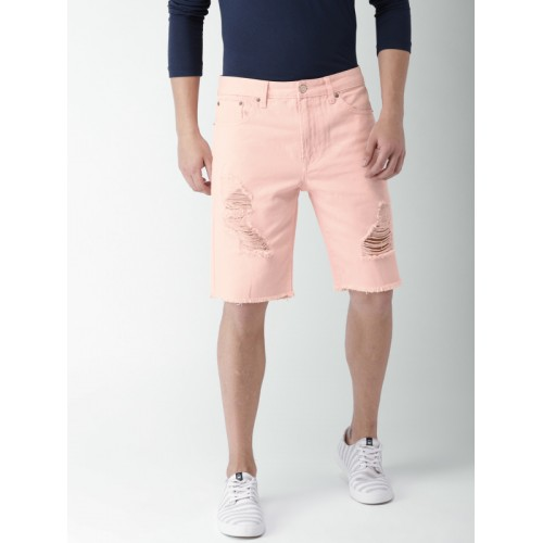 1b1169f002 Buy FOREVER 21 Men Pink Solid Regular Fit Denim Shorts online ...
