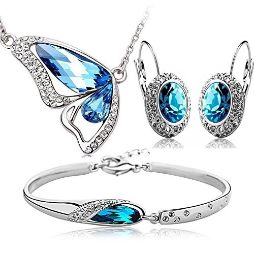 Crunchy Fashion Blue Crystal Pendant Necklace Set With Earrings And Bracelet