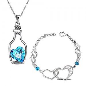 Oviya Rhodium Plated Blue Crystal Pendant and Bracelet Combo